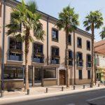 immobilier perpignan projection immeuble facade 3d avec des palmiers devant la résidence programme malraux