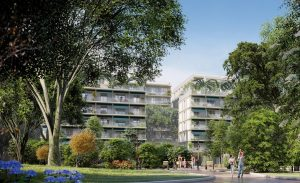 pinel bordeaux-résidence neuve espaces verts passants ciel bleu